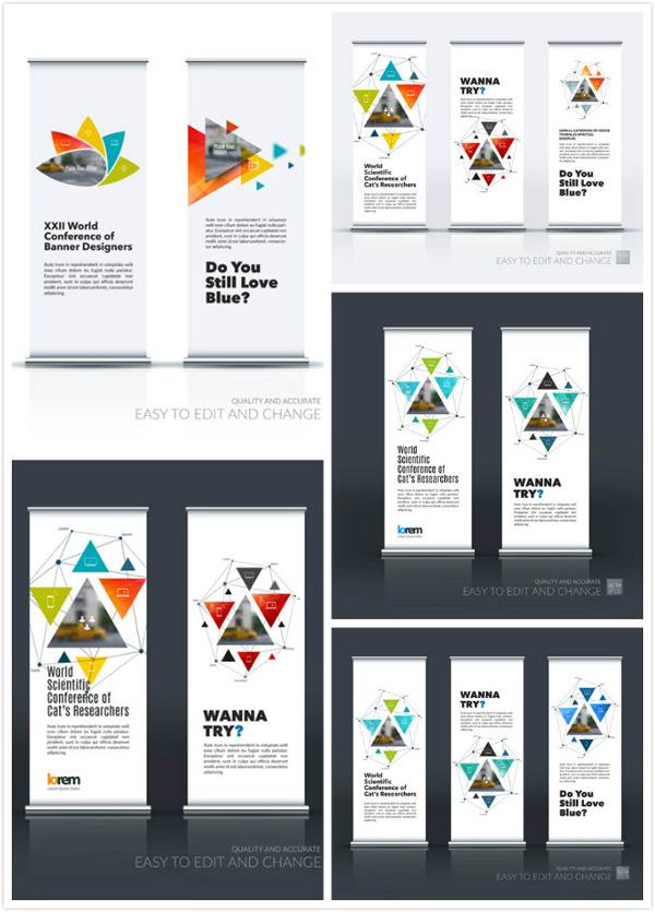 展板模板,设计模板,版式设计,几何,抽象,缤纷,多彩,五彩,图案,三角形