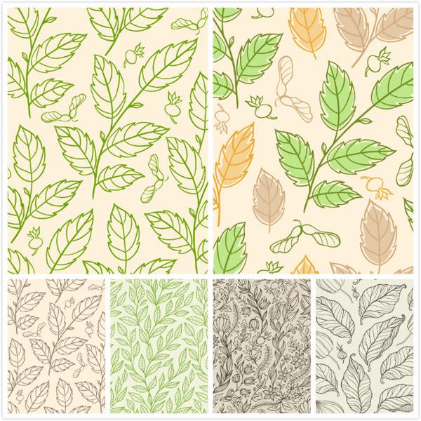 底纹花纹,壁纸,矢量素材,藤蔓花纹,绿色树叶,黄色树叶,柳条花纹,叶脉