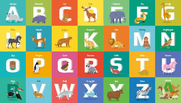 素材分类: 卡通矢量插画所需点数: 0 点 关键词: 彩色卡通动物字母