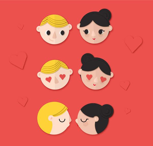 情侣头像,可爱头像,爱心,剪贴画,情侣,男子,女子,人物,头像,矢量图,ai
