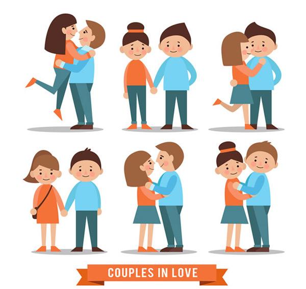 0 点 关键词: 卡通情侣矢量素材,卡通情侣,卡通矢量图,男子,女子,拥抱