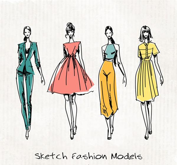 手绘模特矢量图,手绘模特,彩绘模特,女子,草图,时装,模特,时尚,人物