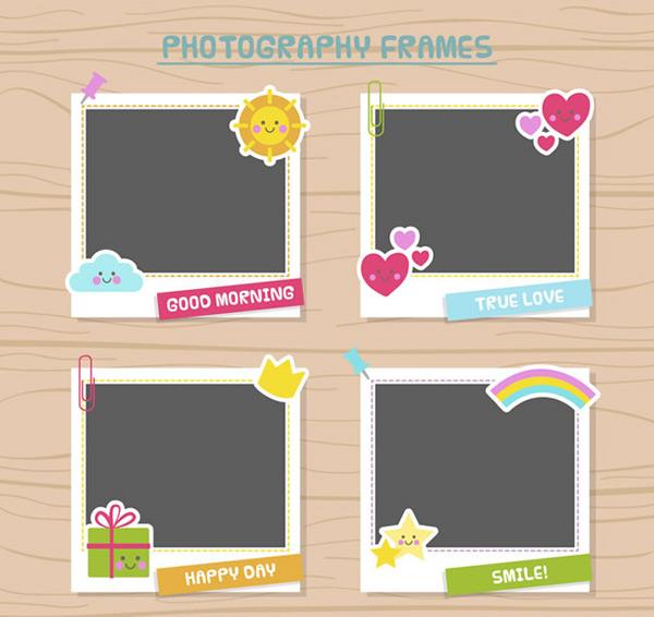 太阳,云朵,爱心,礼盒,彩虹,星星,拍立得,木板,照片,边框,卡通,矢量图