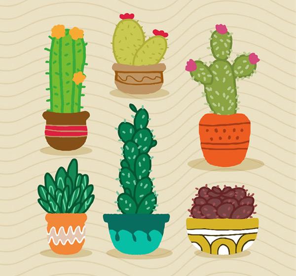 仙人掌盆栽,仙人掌盆栽植物,植物,多肉植物,盆栽,仙人掌,仙人球,矢量