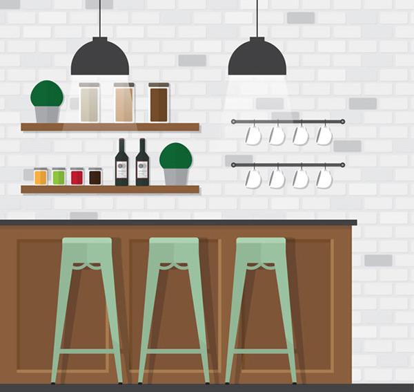 素材分类: 矢量室内空间所需点数: 0 点 关键词: 扁平化咖啡馆吧台