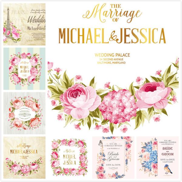 婚礼花朵插画矢量素材,手绘插画,纸张,婚礼插画,铁塔,鲜花,婚礼,婚礼