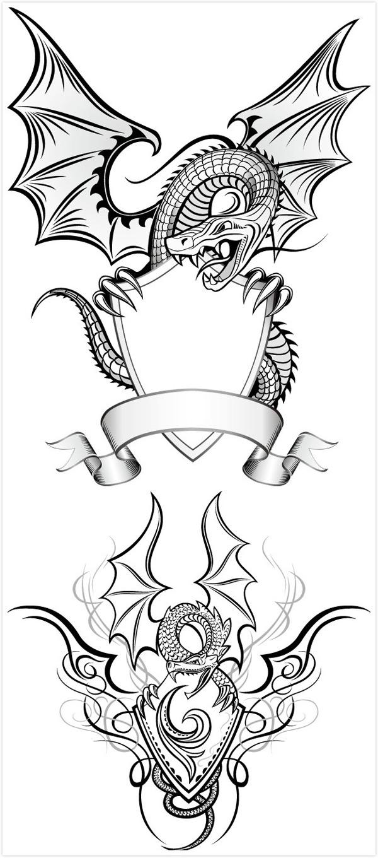 龙纹边框,飞龙花纹,龙纹框架,纹章,手绘线条龙纹,盾牌,奖章,徽章,边框