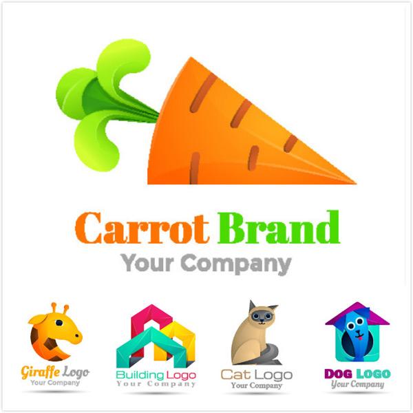 品牌logo,创意logo,logo设计,logo模板,矢量素材,长颈鹿,低多边形建筑