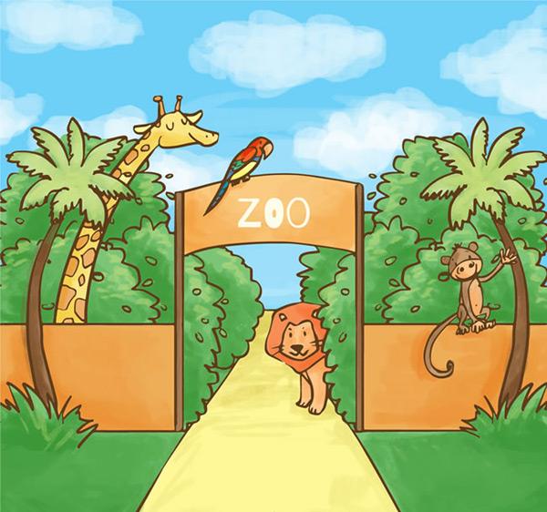 动物园大门,天空,云朵,动物园,门,狮子,长颈鹿,猴子,鹦鹉,树木,矢量图