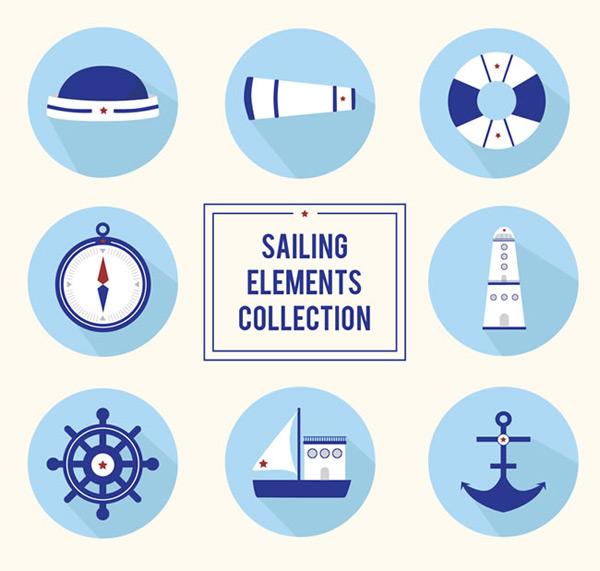 望远镜,救生圈,指南针,灯塔,船舵,船锚,船,航海,图标,圆形,矢量图,ai