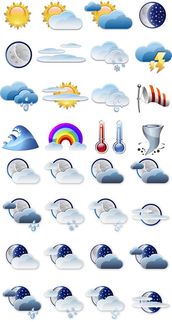 矢量各式图标所需点数: 0 点 关键词: 气象预报标识图标矢量图,气象