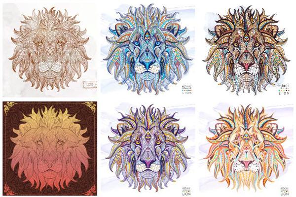 手绘狮子,线条手绘,狮子头像,狮子花纹,动物花纹,雄狮,艺术背景,底纹