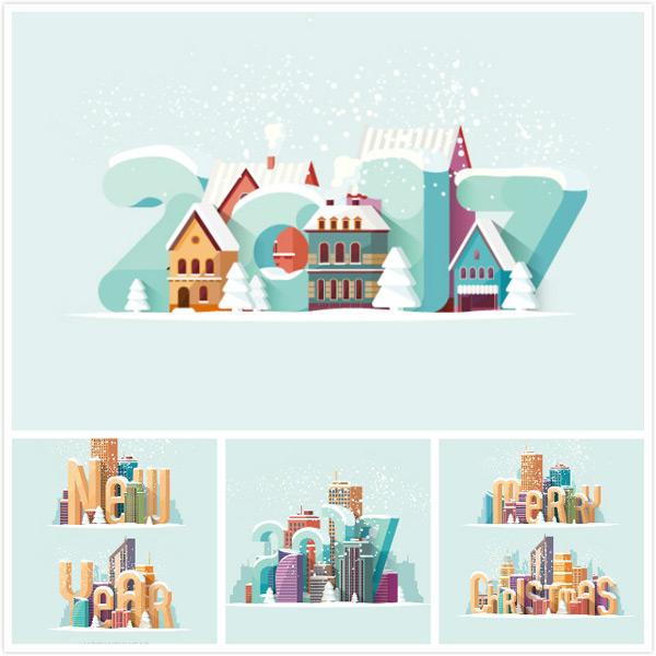 建筑新年背景