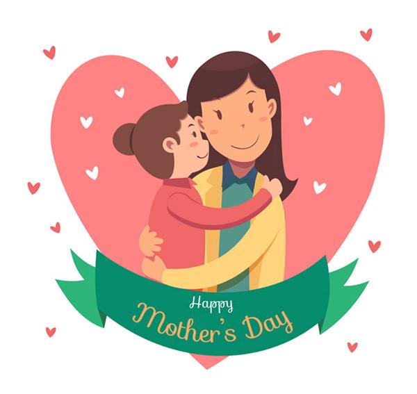 母亲节祝福卡,母亲节矢量图,妈妈,女儿,孩子,爱心,条幅,happy,mothers