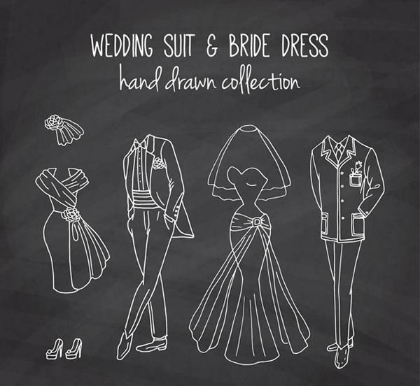 婚礼服饰黑板画