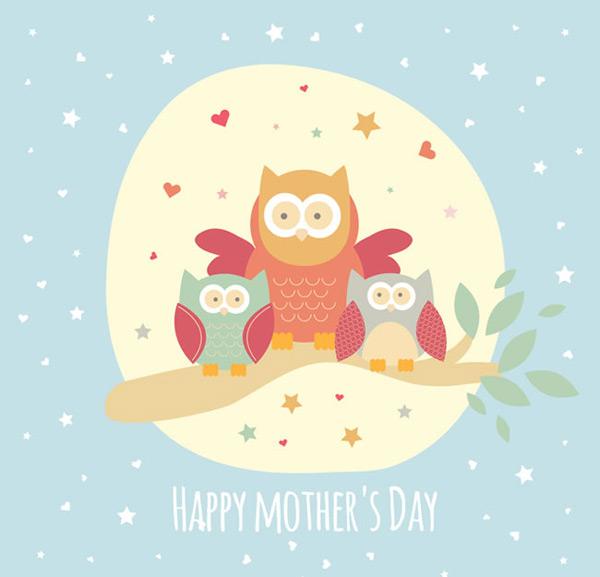 矢量母亲节所需点数: 0 点 关键词: 可爱猫头鹰母亲节贺卡矢量素材