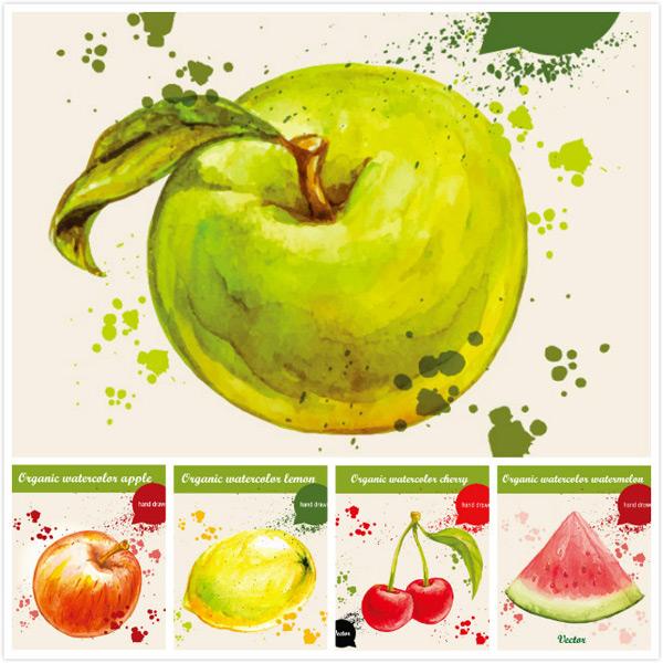苹果,青苹果,,手绘,水果,食物,水彩,墨迹,手绘插画,矢量素材,樱桃