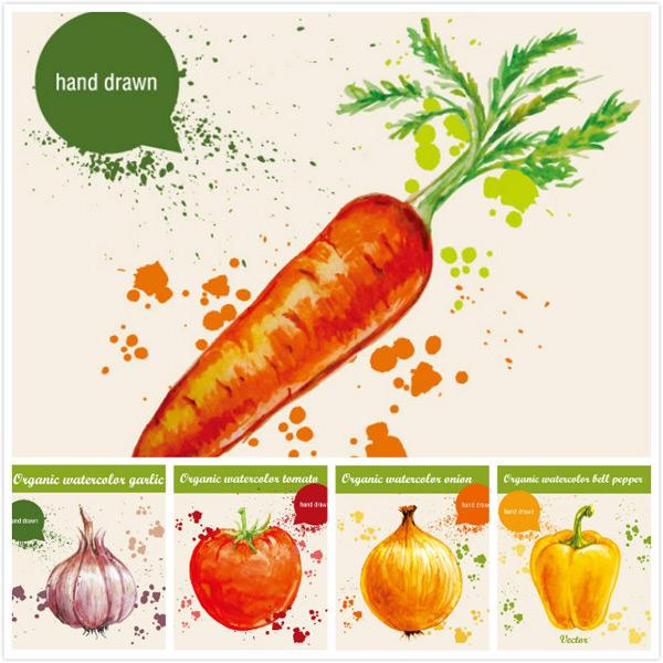 素材分类: 矢量蔬菜所需点数: 0 点 关键词: 手绘蔬果插画,蔬果,绘画