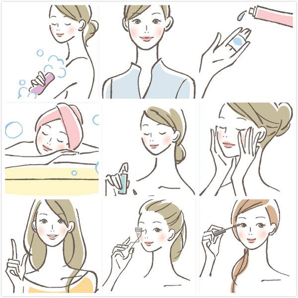矢量人物,矢量素材,职业女性,泡澡,手绘图案,手,卸妆油,瓶子,卸妆棉