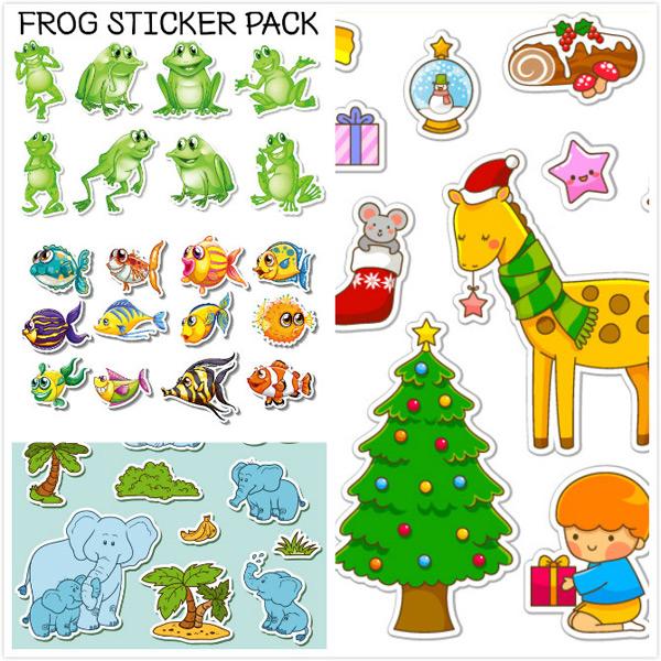 可爱的青蛙,青蛙贴纸,矢量素材,圣诞贴纸,麋鹿,长颈鹿,礼物,星星,小