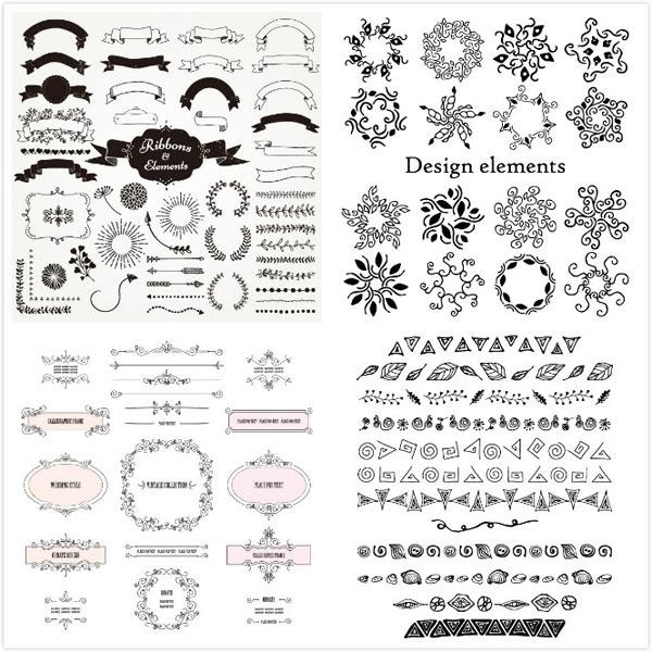 圆形花环,心形花环,橄榄枝底纹边框,矢量素材,藤蔓边框,旋转花纹,创意