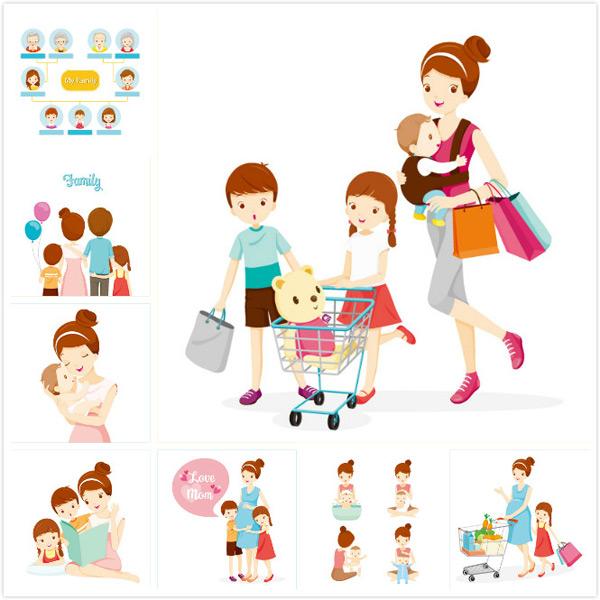儿童,男孩,女孩,小宝宝,卡通家庭人物,卡通插画,矢量素材,家庭背影