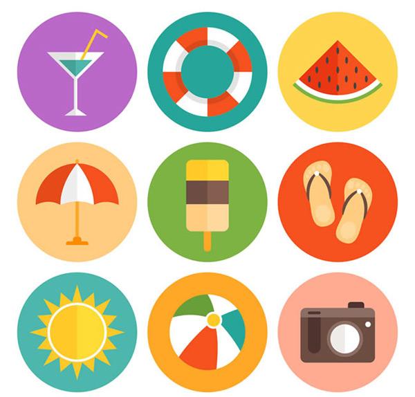 夏季图标,图标素材,图标下载,图标矢量图,鸡尾酒,游泳圈,西瓜,遮阳伞