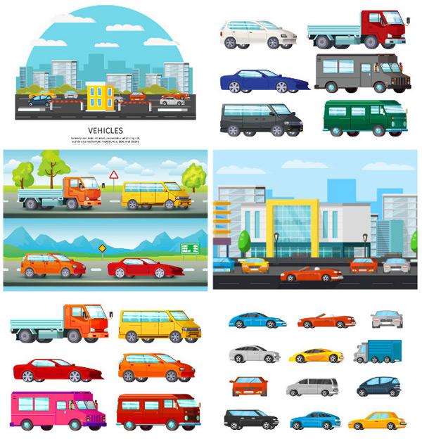 卡通汽车,交通工具,交通运输,矢量汽车,矢量素材,城市中的汽车,行驶的