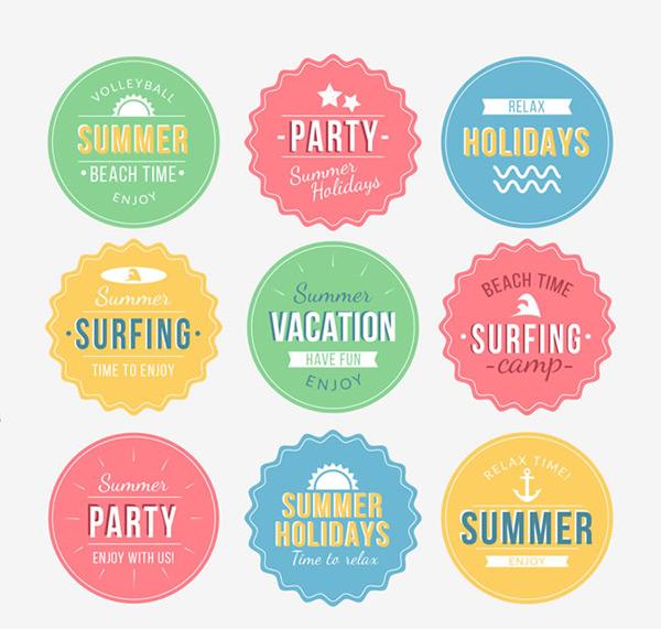 夏季度假元素标签