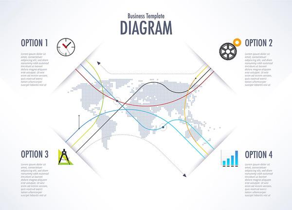矢量商务金融所需点数: 0 点 关键词: 简洁地图曲线数据图表矢量素材