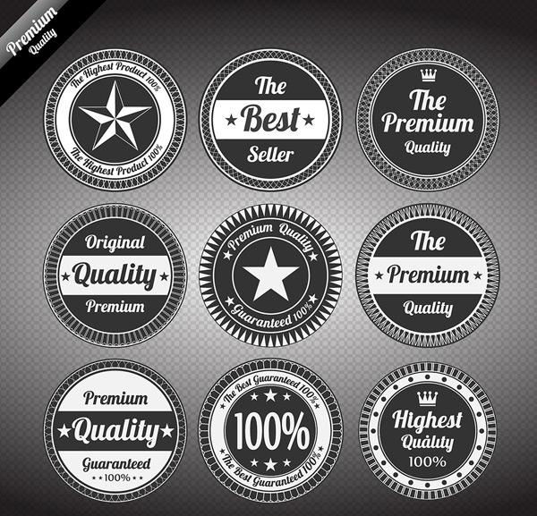黑白圆形标签标贴集合矢量素材,黑白标签,圆形标签集合,高档标签,创意图片