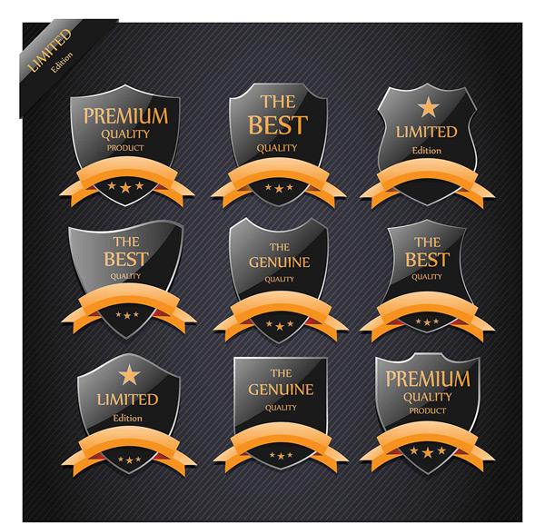 黑色标签盾牌,丝带标签集合,高档标签,标签标贴,欧式标签标贴,品牌