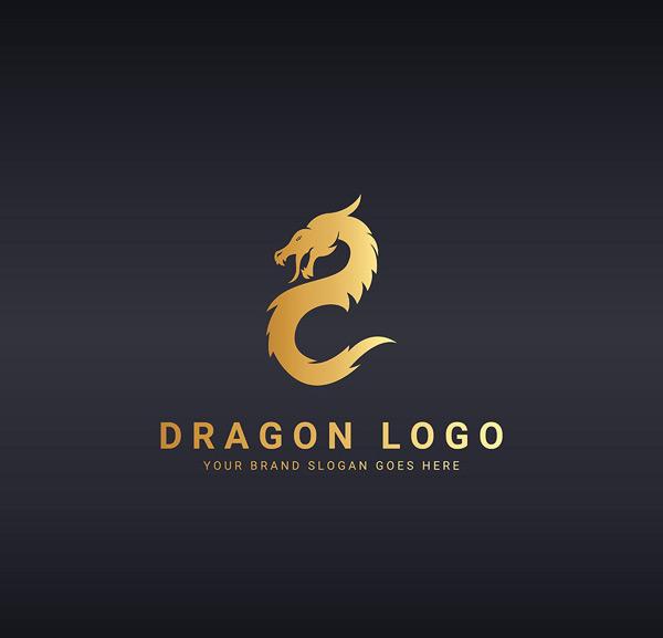 矢量logo图形所需点数: 0 点 关键词: 金色龙形logo矢量素材,金色