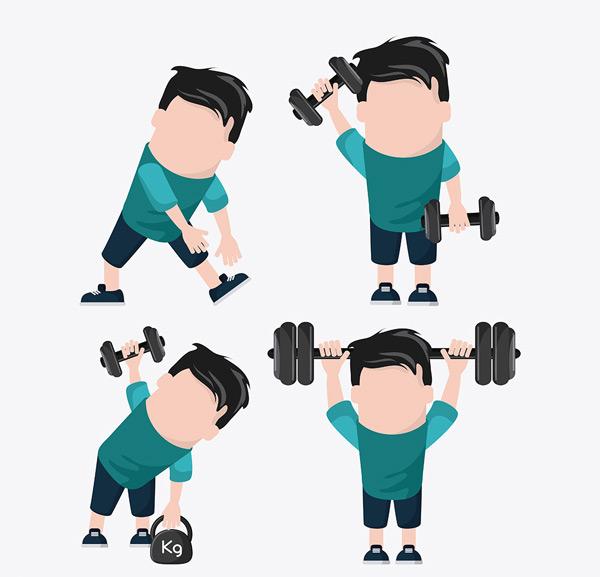 0 点 关键词: 正在锻炼举铁的卡通人物矢量素材,运动,锻炼,健身,哑铃