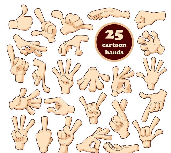 拳头,手掌,ok手势,剪刀手势,竖中指图标,称赞手势,卡通手势,手,手指