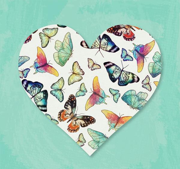蝴蝶装饰爱心