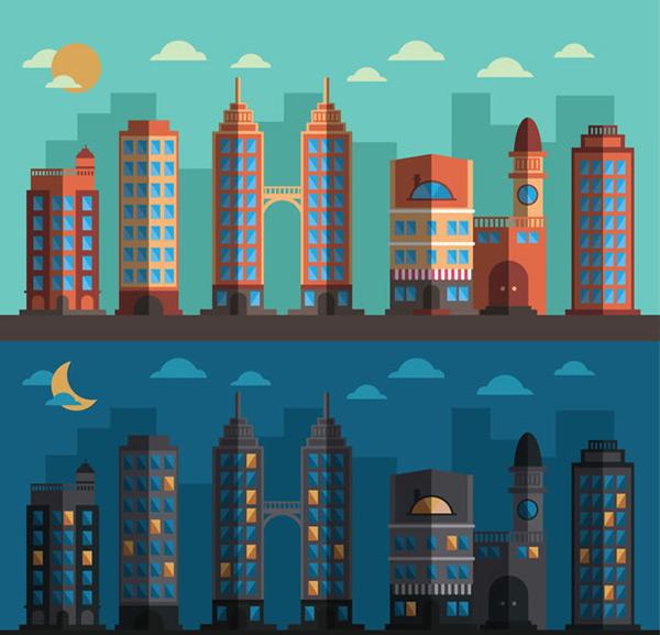 素材分类: 矢量建筑景观所需点数: 0 点 关键词: 扁平化城市的白天和