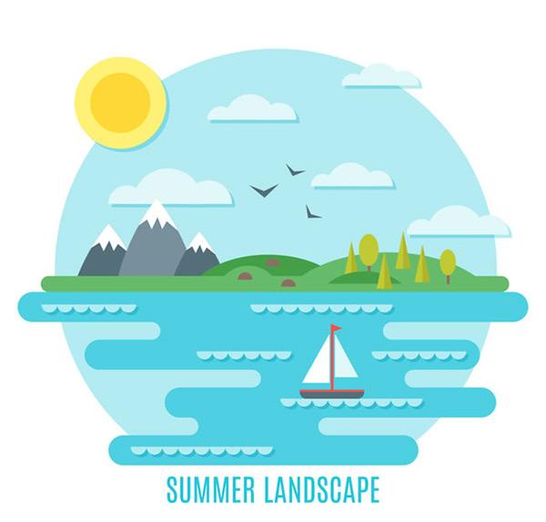 太阳,鸟,云朵,雪山,草地,帆船,树木,自然,扁平化,夏季,大海,风景,矢量