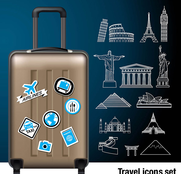 0 点 关键词: 旅行箱和各种著名线条建筑矢量素材,旅行箱,著名建筑