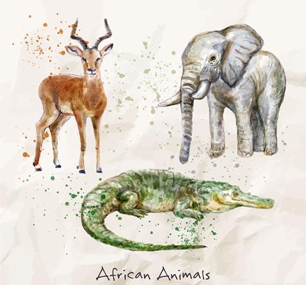 水彩绘非洲动物矢量图下载彩绘大象鳄鱼羚羊非洲动物矢量素材,彩绘