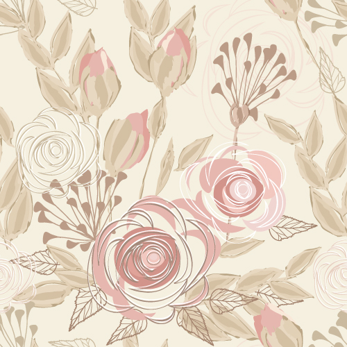 矢量背景所需点数: 0 点 关键词: 花卉元素无缝底纹背景矢量素材