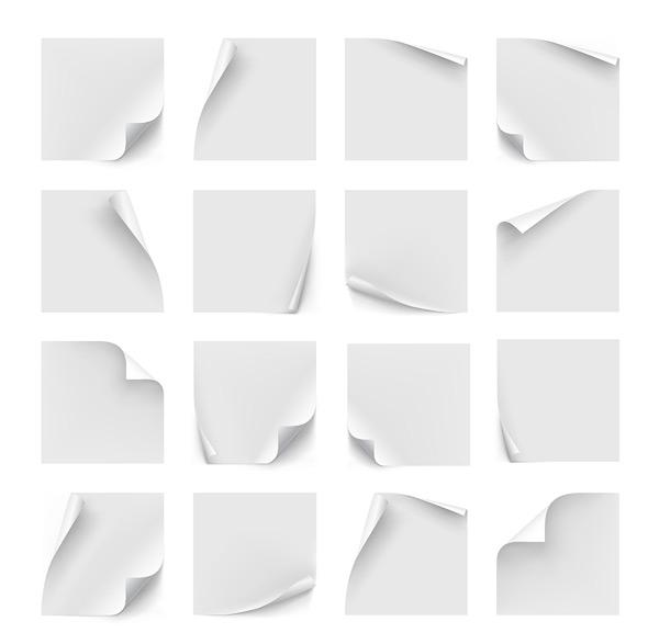 方形标签标贴,小标签,白色标签,纸,纸张,卷角,白纸,矢量素材,eps 下载