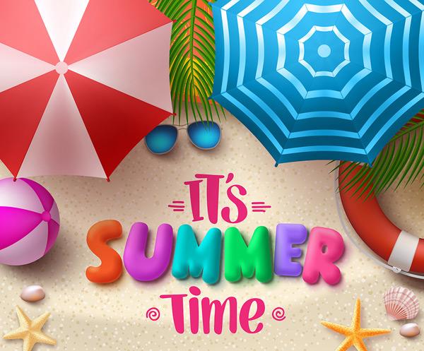 彩色雨伞旅行海报
