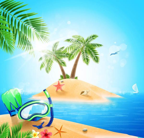 蓝色海洋风景海报