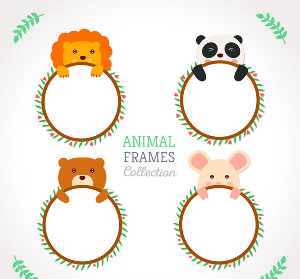 可爱动物,空白框架,狮子,熊猫,熊,猪,框架,动物,叶子,树叶,留言框