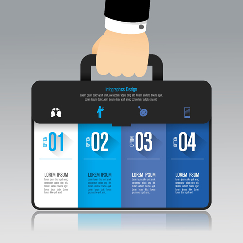 矢量商务金融所需点数: 0 点 关键词: 商务公文包样式信息图创意矢量