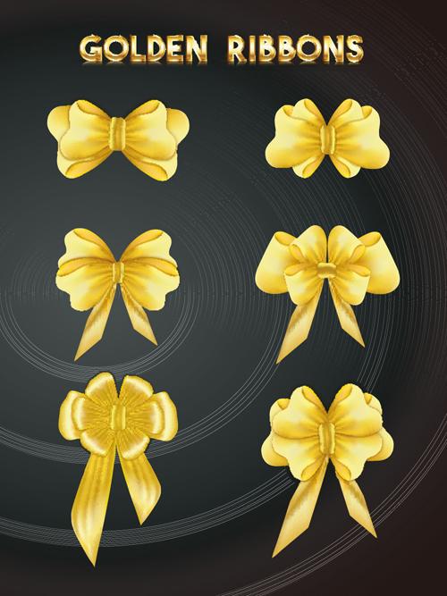 金色蝴蝶结矢量