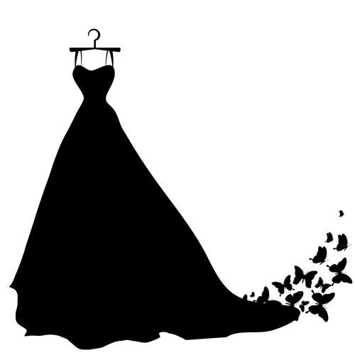 矢量素材,矢量图,设计素材,服装,服饰,时装,女装,裙子,裙装,长裙,蝴蝶