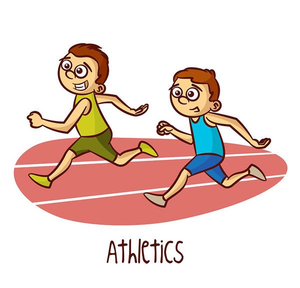 比赛的男孩,跑步的男孩,竞技运动会,田径比赛,卡通插画,矢量素材,eps图片