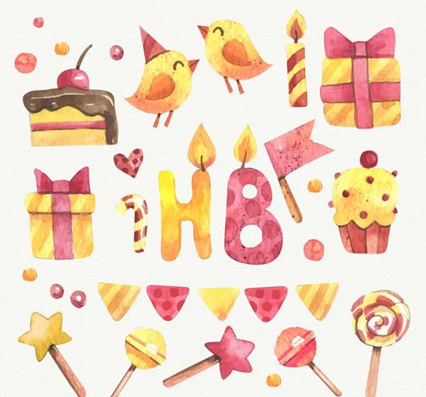 0 点 关键词: 彩绘黄色生日元素矢量图下载,三角蛋糕,鸟,蜡烛,礼盒